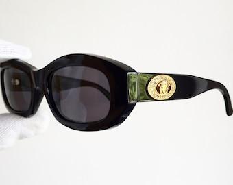 6b113c875ee5 VERSACE vintage sunglasses rare black oval hexagon mask gold medusa logo  strass rhinestones genuine Gianni 481/H angular jewelry new NOS