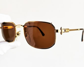 4abc5dfcc5f GERALD GENTA gold plated filled sunglasses vintage eyewear rare rectangular  square tank santos preppy Paris made in Italy 90s frame new NOS