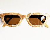 MOSCHINO by PERSOL vintage Sunglasses rare oval cateye squared rectangular small tiny love frame heart supreme gold iridescent Rihanna 90s