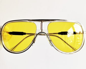9a923ffa40 ALITALIA vintage SUNGLASSES rare aviator new yellow lens clear frame Kanye  West made in Italy Classic 500 yeezy boost zebra shooter NOS