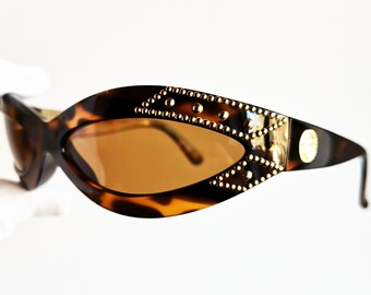 613a8d120e0b VERSACE vintage sunglasses rare 440 X oval wrap wraparound mask tortoise  brown gold rivet studs medusa genuine Gianni 90s made in Italy NOS