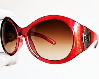 f974f2d8d2a5 VERSACE vintage sunglasses rare red oversize big oval silver greek key  medusa genuine Gianni 4164 festival hippie odd wrap frame new NOS