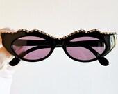 NOUVELLE VAGUE vintage sunglasses rare oval black gold studs white pearl cateye diva venetian mask burlesque baroque rockabilly Rihanna NOS