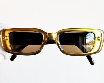 1066c4dac96 GUCCI vintage SUNGLASSES rare shiny gold made in Italy GG2409 N S oval  frame brown lenses supreme wrap palladium Justine Skye 90s new NOS