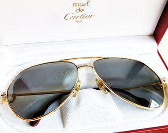 2bff76637de07 CARTIER VENDOME Santos GOLD filled plated Sunglasses vintage rare square  aviator oval tank lunettes retro 1986 New gray crystal lenses 62 mm