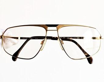 0bb4141089b JAGUAR GOLD eyewear vintage eyeglasses rare filled plated Aviator  sunglasses 339 oval square frames wrap clear amber demo lens pilot New NOS