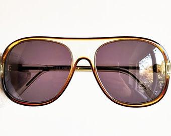425b512ddc NINA RICCI vintage Sunglasses oversize big round squared aviator mask  shield rare made in France PARIS wrap clear frame new purple lenses
