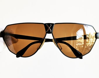 b0ba39a7e8 VALENTINO vintage Sunglasses rare black gold aviator pilot made in ITALY square  supreme collectable spectacle mask wrap 563 new NOS