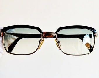 fba2dd8854 SAFILO vintage sunglasses rare rectangular GOLD filled plated square oval  english browline preppy frame retro supreme Malcom X new lenses