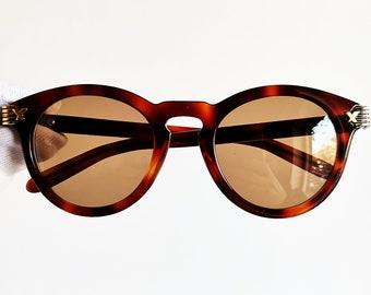 VOGART ligne POLICE lunettes de soleil vintage rares rond ovale bord doré  vieilli effet marron fabriqué à la main dans les verres de nouveau cadre  suprême ... 7944740be9ad