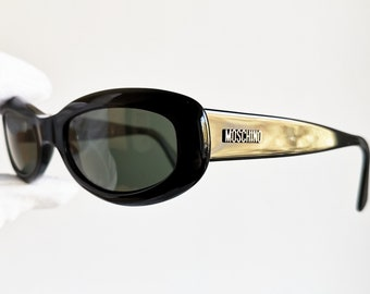8d62de3af9 MOSCHINO vintage Sunglasses rare small oval black wrap wraparound M3541-S  frame love made in Italy new anti-reflection lenses 90s