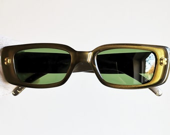 08085ad895f28 GUCCI vintage SUNGLASSES rare clear shiny gold made in Italy GG2409 N S  oval frame supreme wrap palladium Tupac 90s new green lenses
