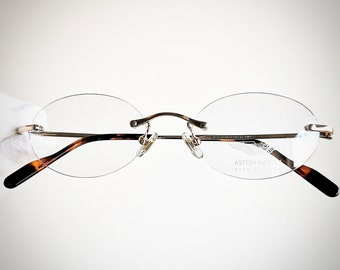 d2d182dabd ASTON MARTIN oval Eyewear vintage Eyeglasses Gold plated Pure Titanium rare rimless  frameless Sunglasses small frame supreme Tupac New NOS
