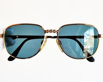 8245bca6a5b45 BUGATTI Gold filled plated SUNGLASSES vintage rare square aviator santos  tank drop sun frame Migos Ettore France new blue clear lens NOS