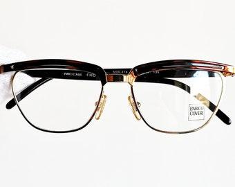 e57b4f360e3 Vintage eyeglasses rare eyewear square rectangular red gold ENRICO COVERI  small preppy frame made in Italy sunglasses 90s New NOS