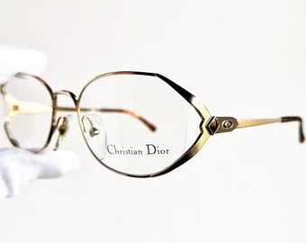 7dd09a8b74 DIOR vintage eyewear rare eyeglasses gold brown oval rimless Sunglasses  square CHRISTIAN 2653 90s small frame New NOS