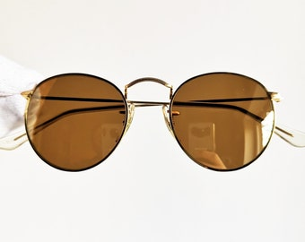01e96b433ab40f RAY BAN Diamond Hard Bausch Lomb Sunglasses vintage rare made in Usa BL  round oval retro Rayban w1911 small frame new gold mirror lenses Nos