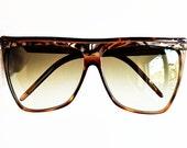 LAURA BIAGIOTTI Vintage sunglasses rare square mask oversize big wrap brown shield flat top shades Cindy Crawford Kylie Jenner Lady Gaga 80s
