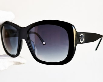 70a42e0364 VERSACE vintage sunglasses rare wrap wraparound black square frame shield  genuine Gianni 4212 medusa Rihanna new lenses