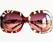 BADGLEY MISCHKA oversize sunglasses vintage rare square French style frame new pink purple lens made in Japan zebra red white stripes 90s