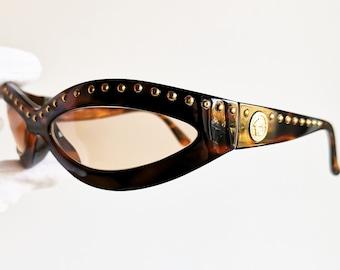 109ce4a6408 VERSACE vintage sunglasses rare 440 M oval wrap wraparound mask gold rivet  studs medusa genuine Gianni 90s Biggie Tupac brown new lenses