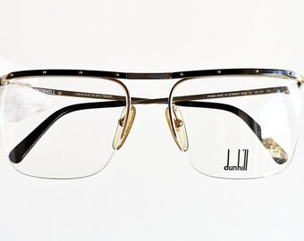 a3e0be2fdf6 DUNHILL vintage eyewear rare eyeglasses gold square rimless Sunglasses oval  6056 Alfred frame half rim clear demo lens horn trims New NOS