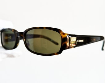 4c79abf3e6 GUCCI vintage SUNGLASSES rare small oval rectangular palladium made in  Italy GG1439 N S squared tortoise brown wrap frame supreme new NOS