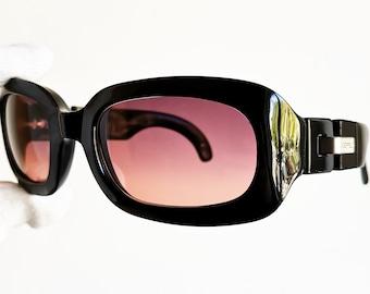 da3cbbb7c62 KARL LAGERFELD vintage sunglasses rare oval squared black mask shield wrap  new purple pink lenses silver 4120 odd Migos France frame 90s