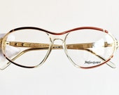 YVES SAINT LAURENT vintage eyewear Ysl rare eyeglasses Gold red clear Sunglasses made in France Here oval wrap 90s 80s frame New Nos