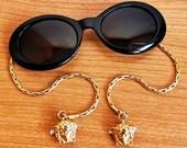 VERSACE vintage sunglasses rare oval black gold bracelet earrings medusa 403 M Gianni Migos Biggie 2Chainz Rihanna Lady Gaga new NOS 90s y2k
