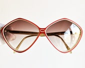 BALENCIAGA vintage sunglasses rare oval diamond rhombus red white Paris hand made in France 2406 RBL oversize odd frame supreme 90s new NOS
