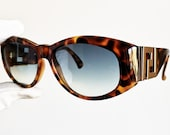 VERSACE vintage sunglasses rare T24 oval brown mask gold greek key genuine Gianni 90s Notorious Big Biggie Tupac Migos Rihanna new blue lens