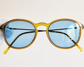 ARMANI vintage sunglasses rare oval round yellow silver 90s Johnny Depp frame Emporio Giorgio GA635 supreme steampunk new light blue lenses