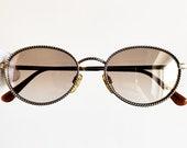 8f142f320 ARMANI vintage Sunglasses rare oval engraved gold chain clear mirror lens  Tupac giorgio emporio 90s frame