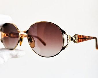 342164ed16 VALENTINO vintage SUNGLASSES rare oval gold rim round V447 tortoise cat eye  Tupac retro fork spectacles new lens
