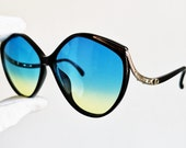 DIOR vintage sunglasses rare black gold square cateye Christian 2280 frame rhinestone butterfly made in Germany oversize blue yellow lens
