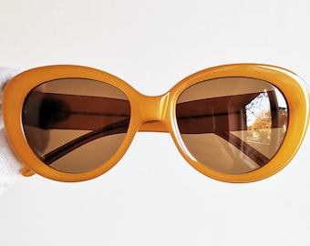 e50329d7867f2 GUCCI vintage SUNGLASSES rare orange honey oversize big mask made in Italy  gold GG2408 S oval thick frame supreme Offset Migos diva new NOS