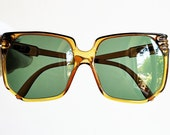 PERSOL square vintage sunglasses oversize rare French style big Rihanna Lady Gaga Kylie Jenner clear brown P45 frame green lens 70s new NOS