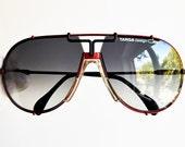 CAZAL Targa 901 330 64-12 vintage sunglasses rare aviator black red pilot Kanye West Yung Joc Brad Pitt frame gray blue lens new NOS 80s 90s