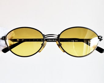 5c2cd618cf28 MOSCHINO by PERSOL vintage Sunglasses oval rare heart love supreme  steampunk Tupac MM545 Valentine frame new yellow mirror lens NOS 90s drop