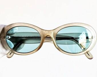 3f236e830a8 FENDI vintage SUNGLASSES rare oval clear FENDISSIME clout goggles frame  transparent Kurt Cobain style new light blue lenses
