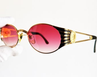 9729c2b37b79 FENDI vintage SUNGLASSES rare oval gold rim FS300 round Tupac Biggie Offset  Migos safety pin temples roman coin frame 90s new pink lens NOS