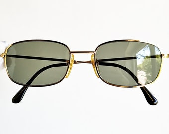 c0671ce4daf2 CLARK TREVI gold vintage sunglasses rare small tiny squared rectangular  made in Italy Tupac Migos engraved frame new NOS 90s
