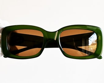 1caafaf8fb2 GUCCI vintage sunglasses rare square thick frame GG2407 S oval green  supreme moda wrap palladium Kurt Cobain oversize 90s new brown lenses