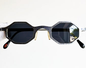 42e61286851c4 CASANOVA octagon vintage sunglasses rare graffiti small tiny odd silver  blue FC-3 frame made in Italy hexagon square 90s space age new NOS