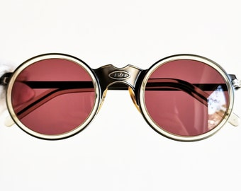 bef66c0a0054 JEAN PAUL GAULTIER vintage Sunglasses Jpg rare round oval steampunk 56-3272  silver gunmetal aged effect frame made in Japan pink new Nos
