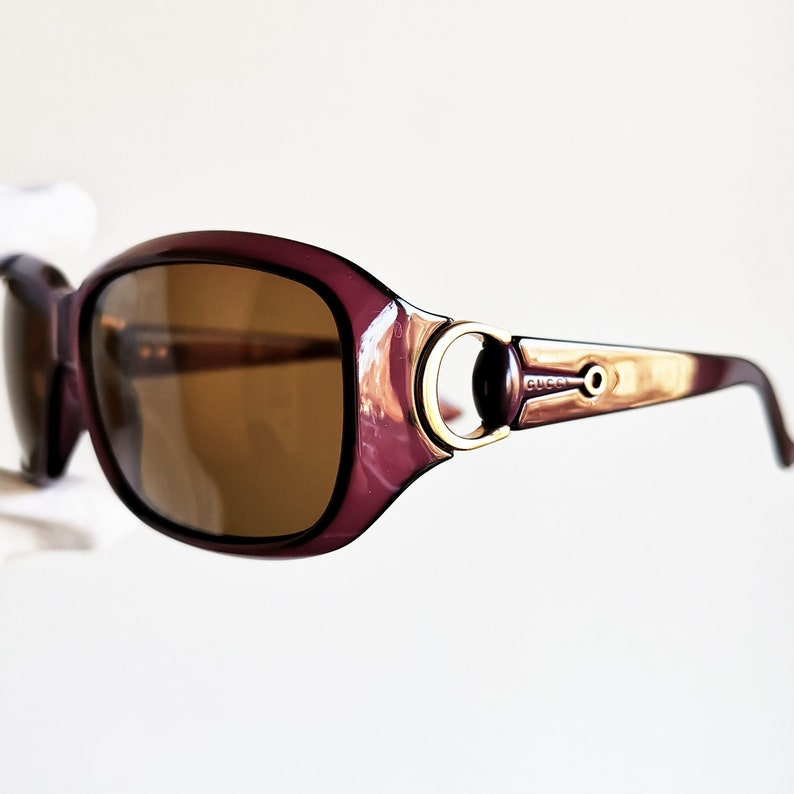 b087240e240 GUCCI vintage SUNGLASSES rare purple mask gold ring GG3610 S