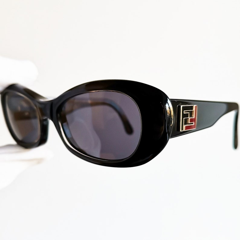 36f0c8bdac163 FENDI vintage Sunglasses rare black oval mask made in ITALY