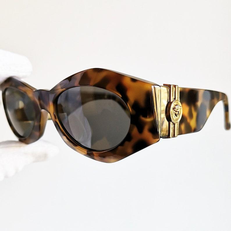 8656cda5c6abe VERSACE vintage sunglasses rare 422 A oval square wrap