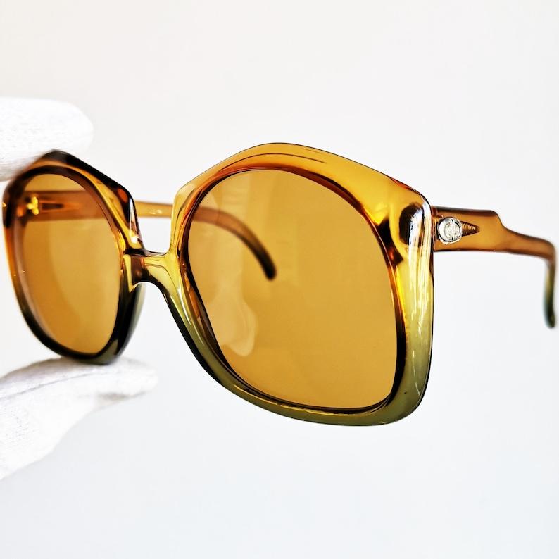 b60a6f42e6 DIOR vintage lunettes de soleil rare carré orange vert jaune | Etsy